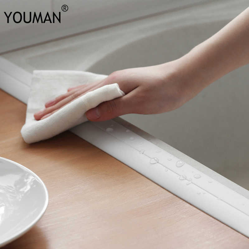 Papier peint auto-adhésif en PVC imperméable, bande de fente de cuisine et salle de bains, bande de scellage murale