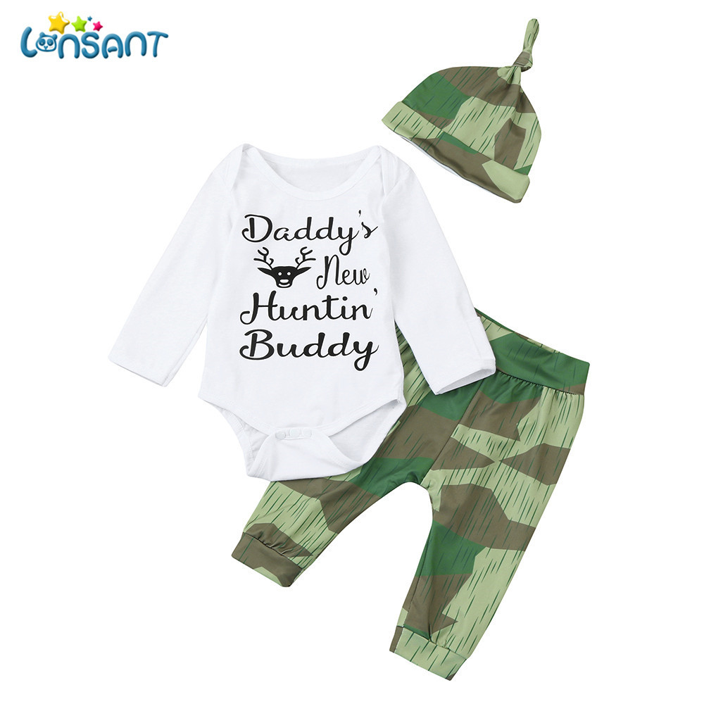 LONSANT 3Pcs Infant Baby Boy Girl Casual Camouflage Romper+Pants+Hat Outfits Set Long Sleeve Baby Clothes