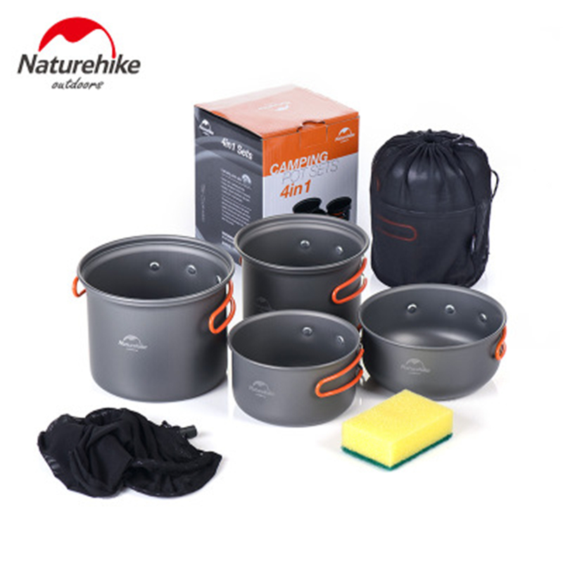 Naturehike Outdoor Camping Cookware Cooking Set 4 In 1 Camping Pot Set Cubierto Plegable Camping UltraLight