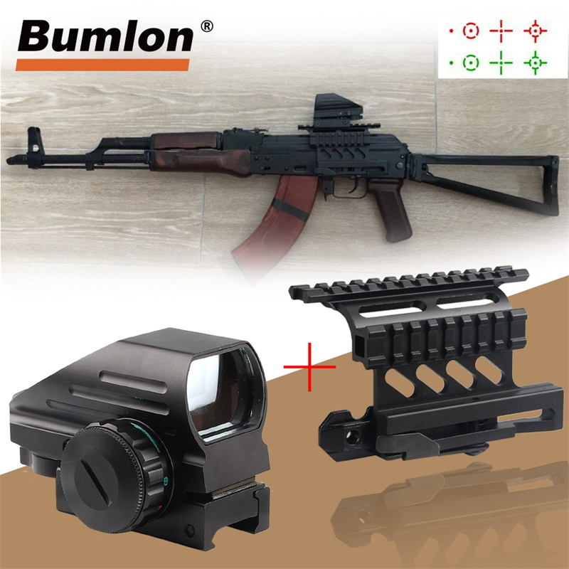 Holographic Red And Green Dot Sight Tactical Reflex 3 Different Reticles +Tactical AK Side Scope Mount Quick QD 20mm 5-0032