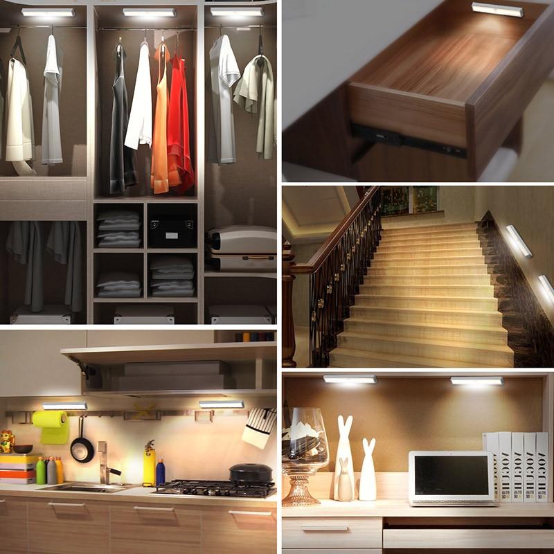 Motion Sensor Light USB Rechargeable 10 LED Lights for Wardrobe Stair Hallway Cabinet @8 WWO66