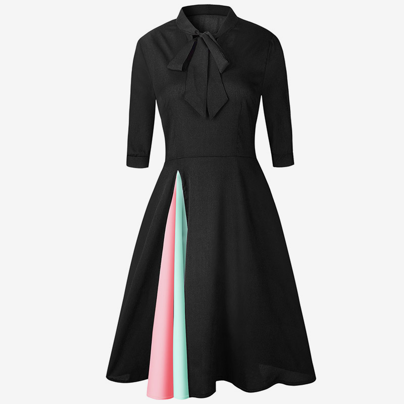 MCCKLE Vintage Style A Line Women Half Sleeve Dress Stand Neck 2018 Spring Office Lady Dresess Evening Party Sexy Womens Dress