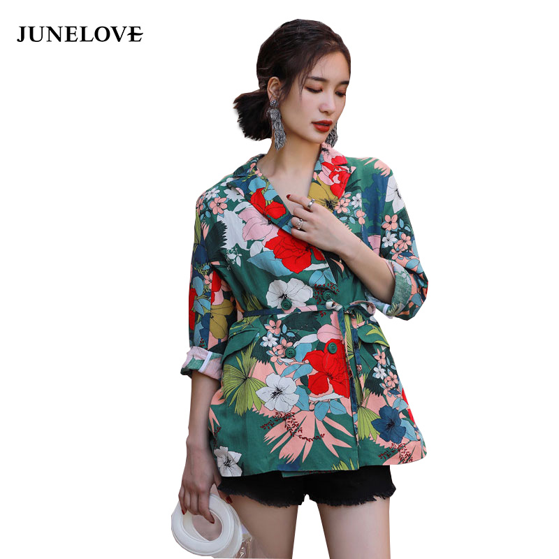 JuneLove 2018 summer floral printed women blazer long kimono japan style sleeves colorful casual ladies suit