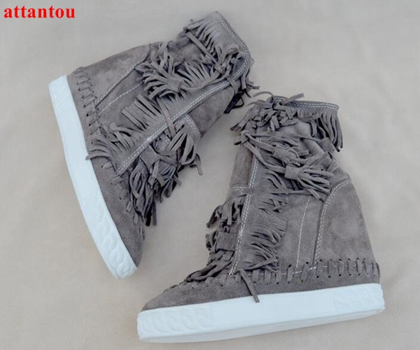 Autumn Fashion suede leather women boots height increasing wedges ankle boots lace up straped fringe decor red yellow pink color