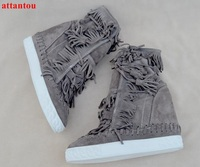 Autumn Fashion Suede Leather Women Boots Height Increasing Wedges Ankle Boots Lace Up Straped Fringe Decor