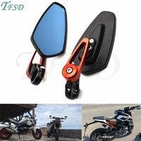 Moto Motorcycle aluminum 7/8 22mm handlebar rod end side mirror universal motorbike For KTM Duke 125/200 Duke 390
