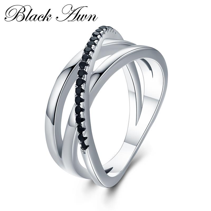 Classique 925 en argent Sterling fins rangée de fiançailles noir spinelle anneaux de mariage pour les femmes Bijoux Femme G006
