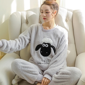 Image 5 - New Spring Winter Anti Cold Keep Warm Women Coral Fleece Pajamas Set of Sleepcoat & Lady Thermal Flannel Home Clothing Bottoms
