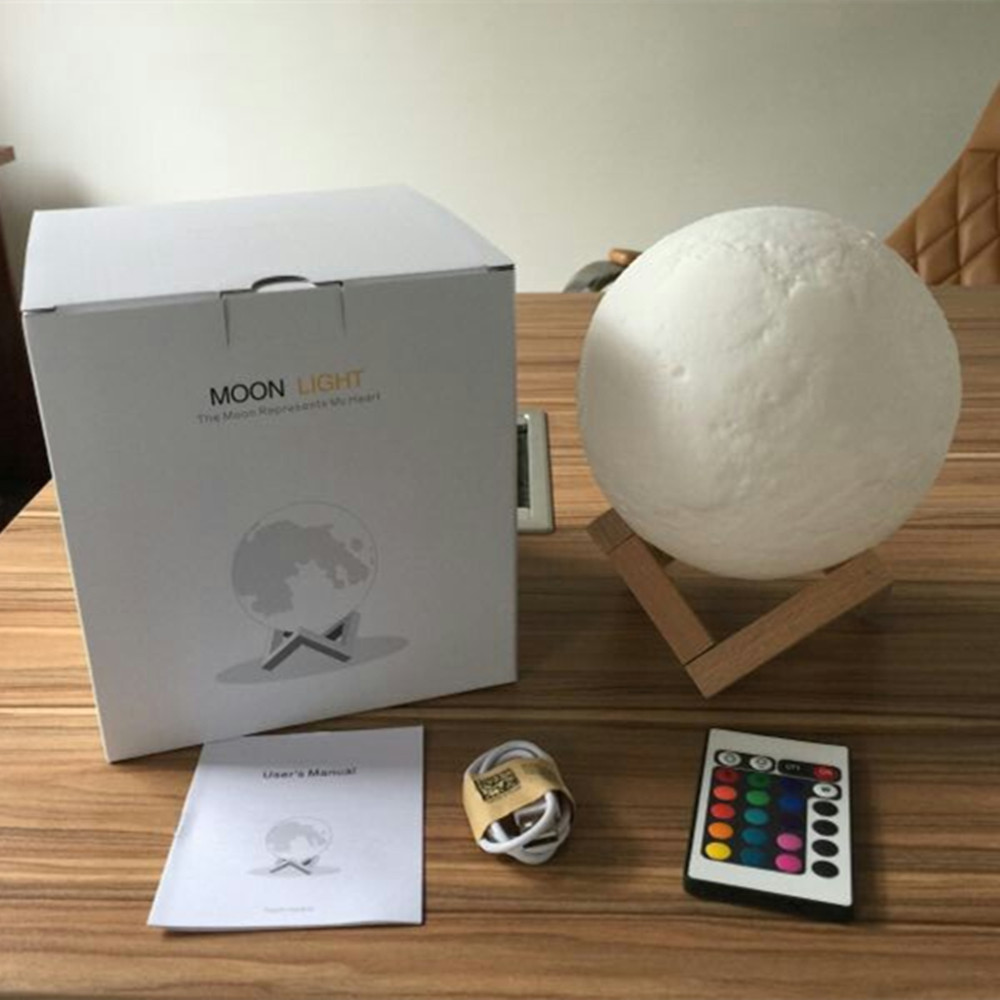 YIYANG New USB 3D LED Moon Light 16 Colors Rechargeable Night Light with Remote Controller Valentine Gift Multicolor Full Moon new moon