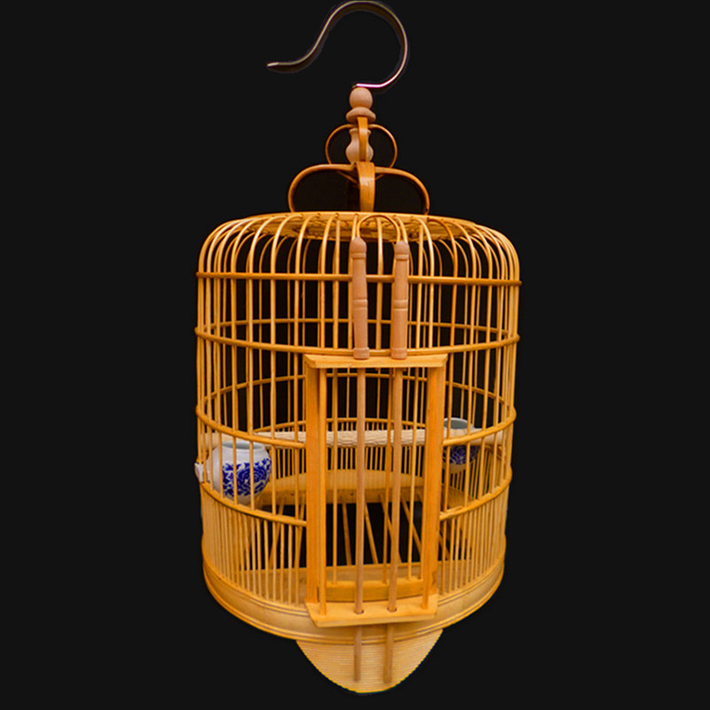 30cm 33cm 36cm bamboo bird cage handmade paint birdcage with stainless steel cage hook one sets