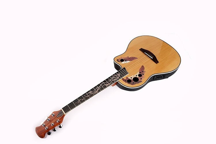 round back ovation acoustic-electric guitar with fire shell inlay with free hardcase