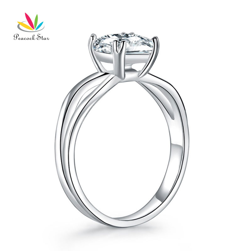 Peacock Star Princess Cut 1 Ct Solid 925 Sterling Silver Ring Promise Anniversary Engagement Wedding Jewelry CFR8289