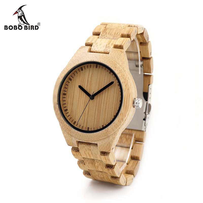 BOBO BIRD V-G27 Bamboo Wooden Watches Men Handmade Classic Quartz Wristwatch Wood/Leather Strap Available