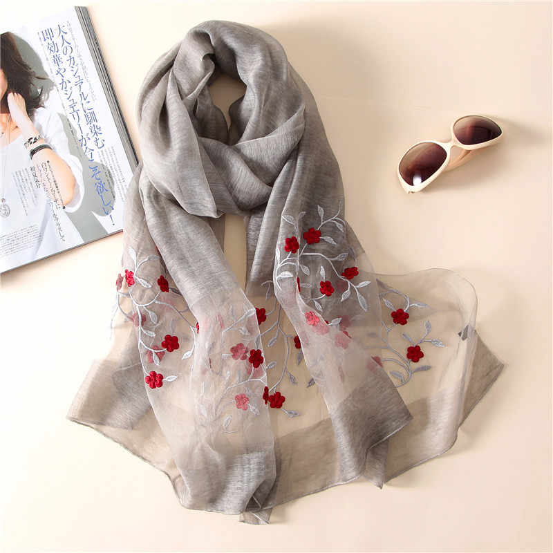 New silk scarf women 2019 embroidery floral shawl wrap women travel  pashmina high quality wool neck scarves bandana face mask
