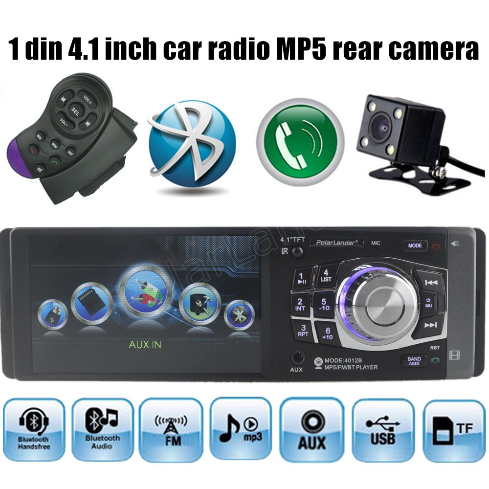 4.<font><b>1</b></font> inch <font><b>1</b></font> <font><b>DIN</b></font> 12V <font><b>Car</b></font> Radio <font><b>Audio</b></font> Stereo TF FM USB Rear View Camera MP4 MP5 AUX In Player with steering wheel Remote Control image