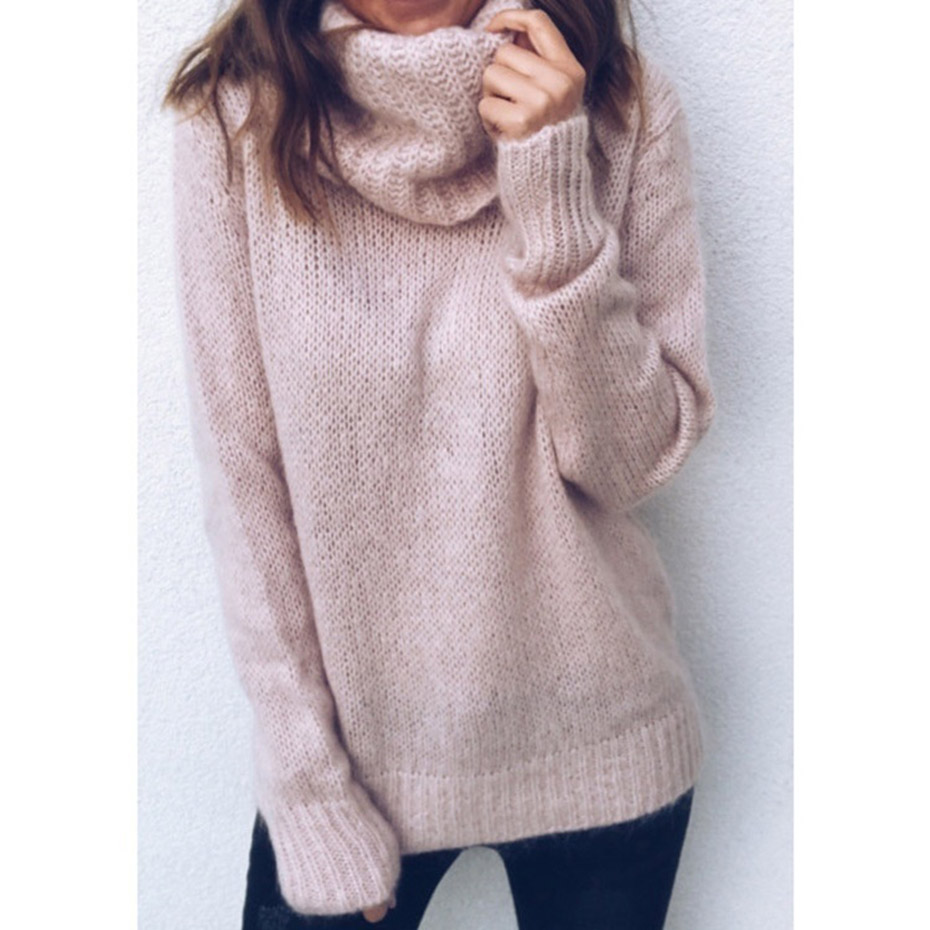 Women Thin Pullover Jumper Knitted Sweater For Women Clothing ZOGAA Winter Womens Sweaters Solid Casual Turtleneck Sweater