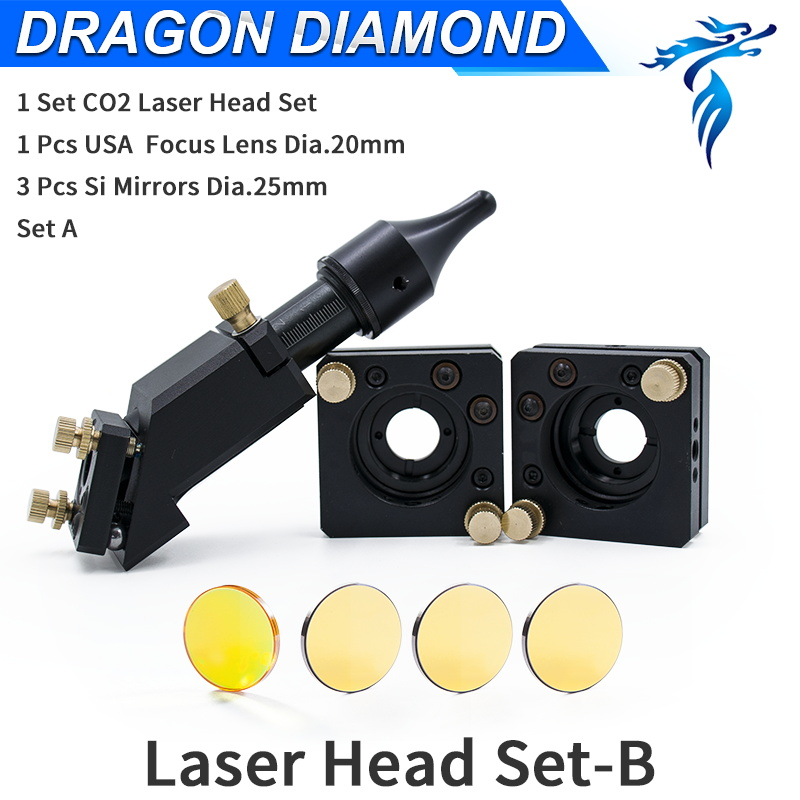 CO2 Laser Head Set B type 3pcs Mirror 25mm 1pcs Laser ZnSe Lens D20mm FL 50.8mm 63.5mm 2' 2.5'for CO2 Laser Machine co2 laser machine laser path size 1200 600mm 1200 800mm