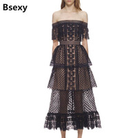High Quality Runway Dress 2018 New Women Tunic Self Portrait Dress Slash Neck Off The Shoulder