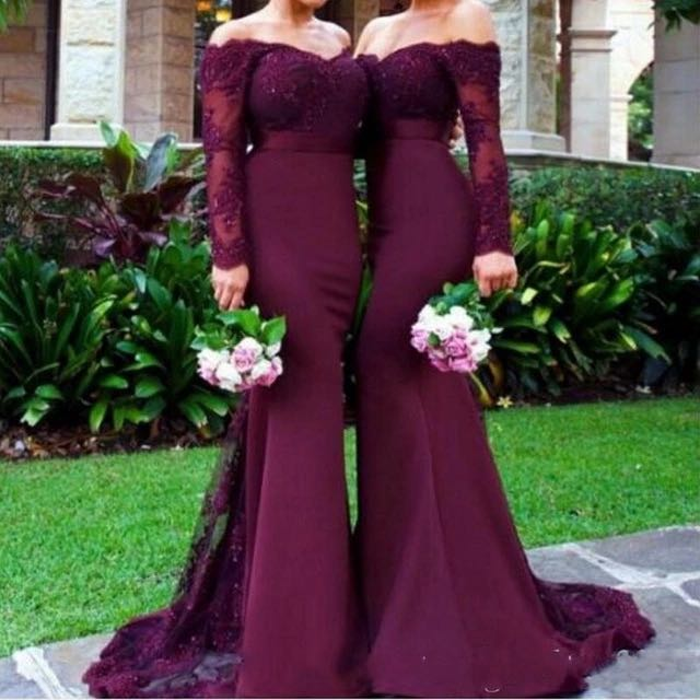 Evening Dress Abendkleider 2019 Long sleeve Sweetheart Mermaid Prom Dress Satin Appliques Evening Dresses Long Robe