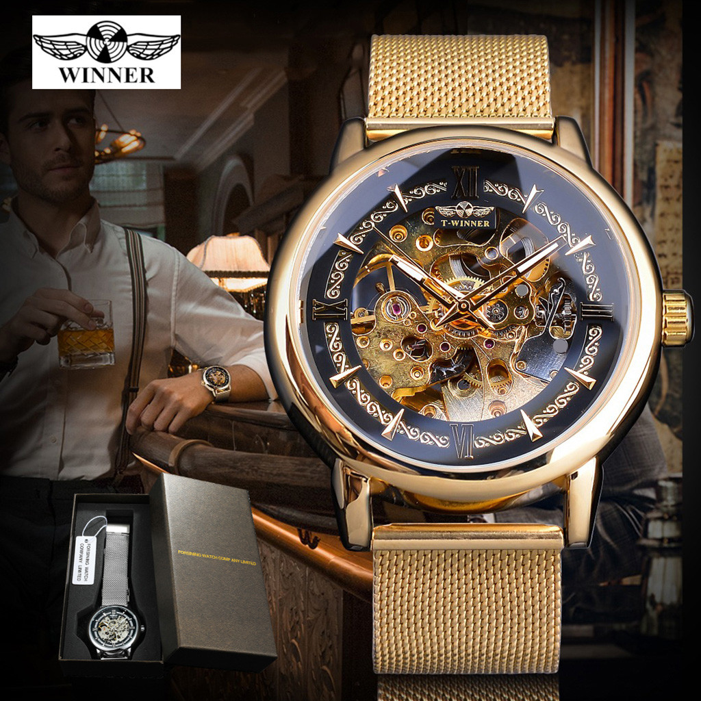 2019 Relogio Masculino T-WINNER Fashion Hollow Luxury Design Business Fashion Men's Mechanical Watch Business Reloj Hombre