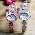 Hot Sales Rose Gold Tone Cute Hello Kitty Watch Children Women Lady Fashion Dress Quartz Wristwatches 9513