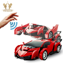 Electronic Remote Control Deformation Car Hand Gesture Sensing One Key Control Transformer Children's Toy Robot one robot