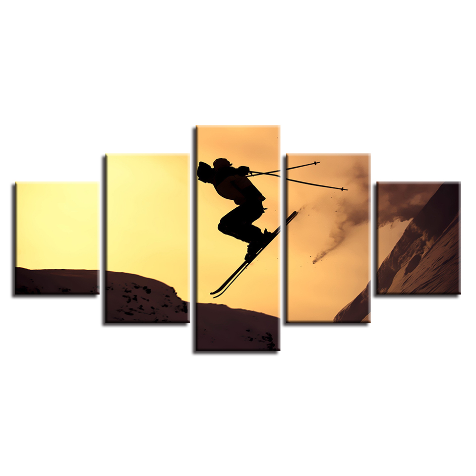Posters HD Printed Picture Wall Art Home Decoration Modular 5 Panel Sports Ski Living Room Modern Painting On Canvas Frame