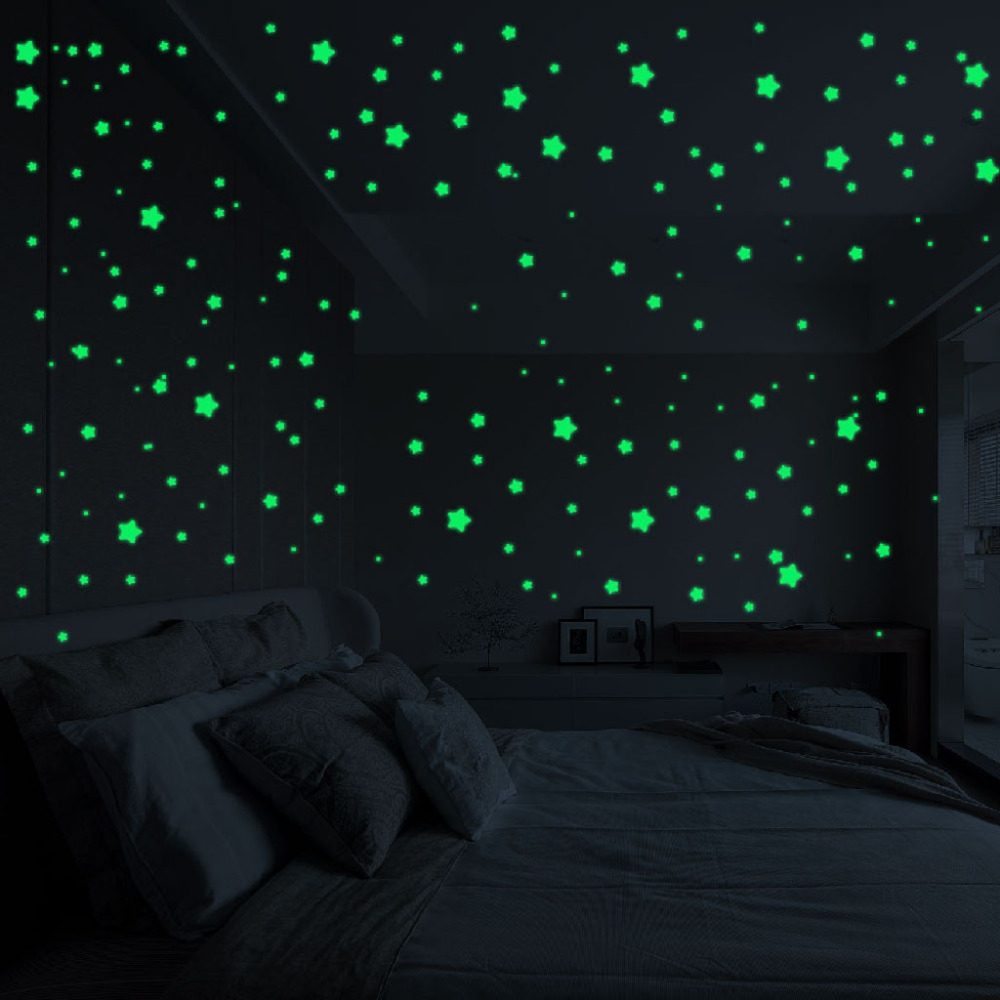 3D 127PCS Stars Glow In The Dark Wall Stickers Luminous Fluorescent Wall Stickers For Kids Baby Room Bedroom Ceiling Home Decor(China)