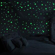 3D 127 шт звезды светится в темноте наклейки на стену светящиеся флуоресцентные наклейки на стену для детей Детская комната Спальня Декор для потолка