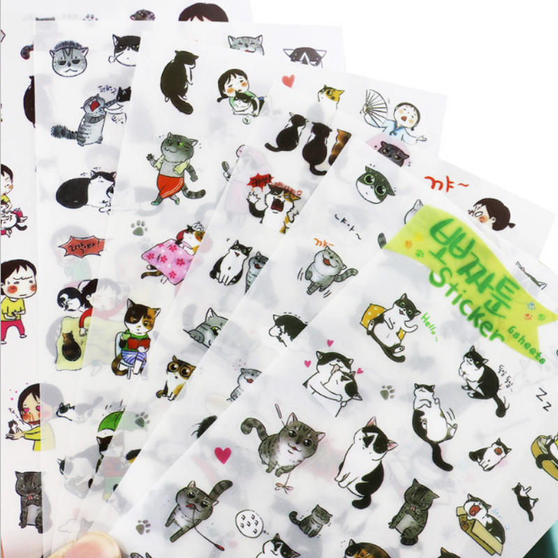 6Pcs/lot Cute cat Decorative Stickers Transparent Pet New Phone Stickers Diary Stickers Scrapbook Paper Toy Stickers stationery 8 pcs lot funny sticker cute bear penguin cat decorative adhesive for diary letter scrapbook school supplies stationery