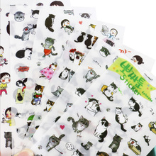 6Pcs/lot Cute cat Decorative Stickers Transparent Pet New Phone Diary Scrapbook Paper Toy stationery