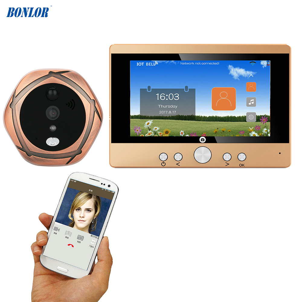 720P WiFi Wireless Digital Peephole Door Viewer 5 Front Door Peephole Camera Wifi Doorbell with Intercom or take picture цена