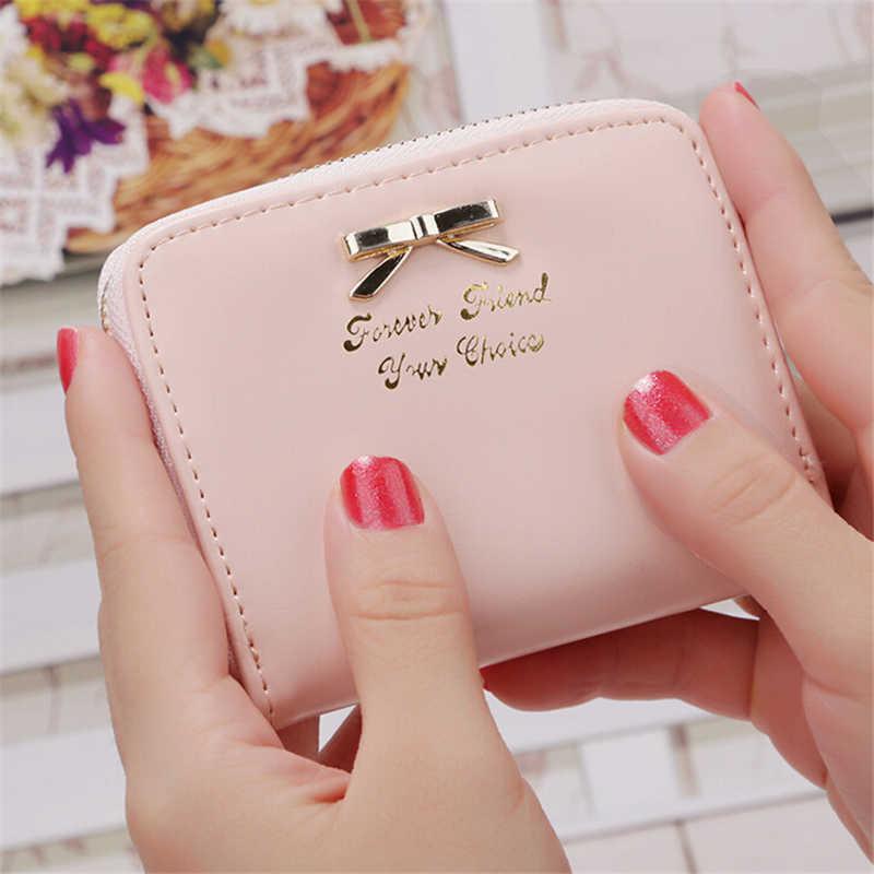 Monederos con lazo bonitos para chicas, Sección de cuero sintético, paquete de tarjetas de forma cuadrada, Mini monederos de monedas 7619