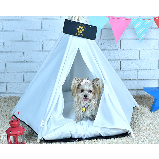 Comwarm White Pet Teepee House Pet Bed Cat Bed Pet House Portable Dog Tents Pet House Bed for Small Dogs ( with Cushion ) 4