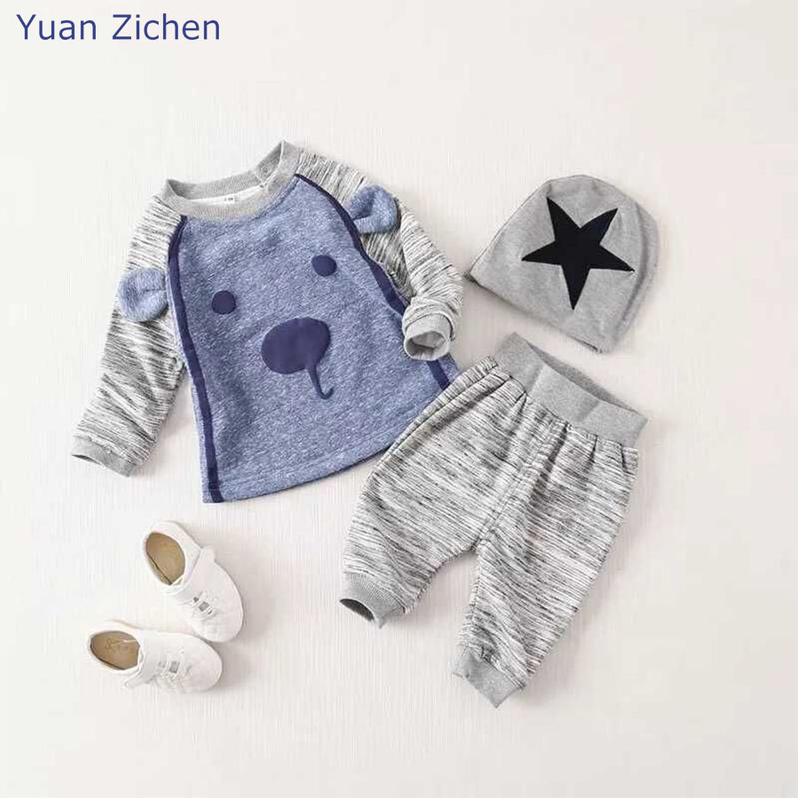 Dropshipping Kids Clothes Lovely Little Dog Long Sleeve Tee Pants Star Hat Cartoon 3 Pcs Clothing Set Puppy Newborn Baby Suit