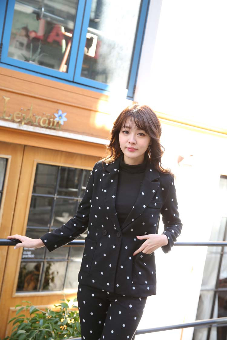 South-Korea-Official-2015-Wool-Suit-Female-Lovely-Polka-Dot-Western-Style-pants-suit (4)