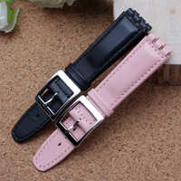 High Quality 17mm 19mm Waterproof Genuine Leather Watch Strap Band Black Brown White With Clasp for swatch wathcband