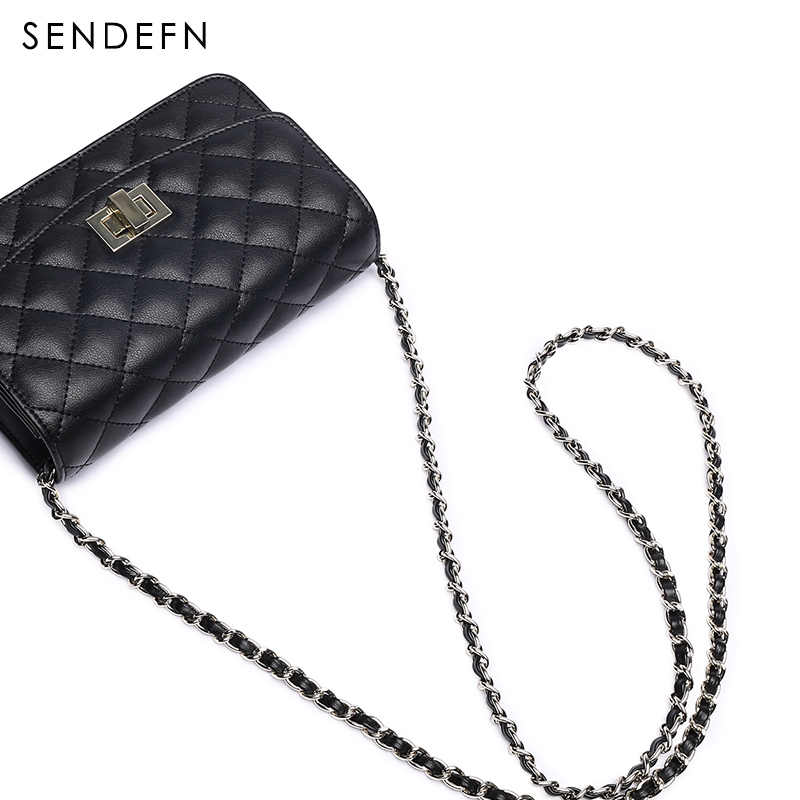Sendefn Donne Borse a Spalla di Lusso Della Signora Crossbody Bag 2018 Nuovo di Alta Qualità In Pelle Casual Piccolo Reticolo del Diamante Sacchetto del Messaggio