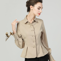Elegant Slim Solid Color Peplum Tops Women Tunic Turn down Collar Long Sleeve Double Breasted Cardigan Satin Shirt Office Blouse