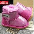 Botas de pele de carneiro das crianças sapatas da criança do bebê Crianças inverno quente sapatos Da Criança Infantis