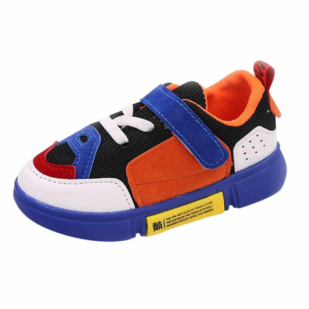 2018 חדש באיכות גבוהה חומרים אופנתי ילדי קיד בני Gilrs מעורב צבעים תיקון רשת ספורט ריצה נעליים יומיומיות