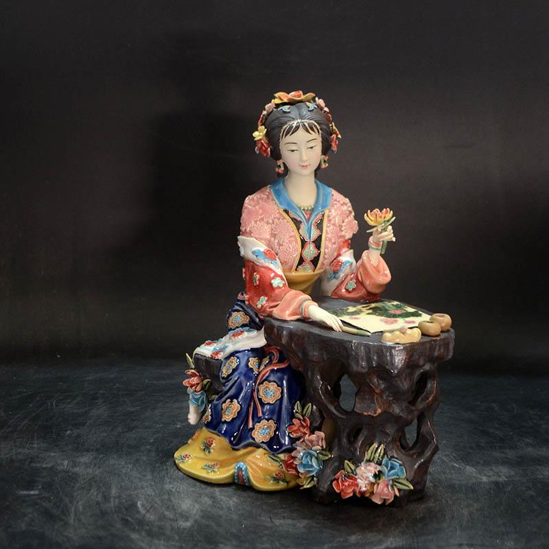 الخزف تماثيل ملائكية التصويرية السيراميك النحت المزجج تمثال النحت الشكل الفن للمنزل ديكور L3391-في تماثيل ومنحوتات من المنزل والحديقة على