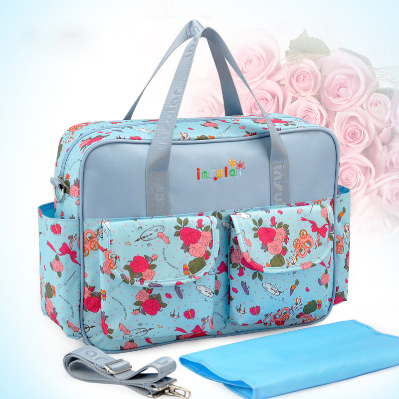 Baby Nappy Changing Bags Large Capacity Maternity Mummy Diaper Bag Floral  Style Tote Messenger Bags sac a langer couche AX004B-in Diaper Bags from  Mother ... 1d3aa65896aee