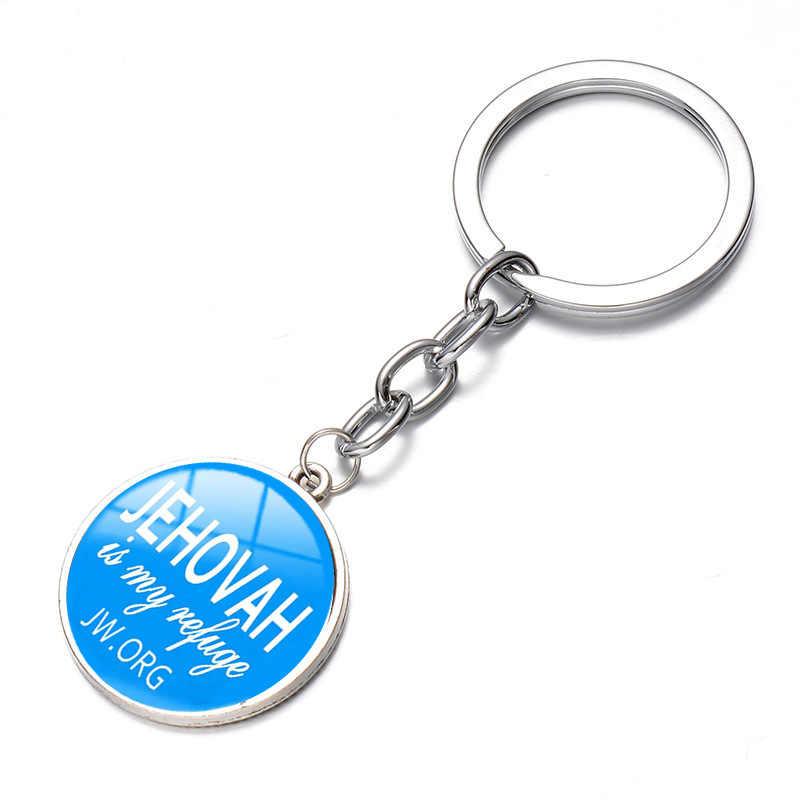 Songda JW ORG Gantungan Kunci Warna Cerah Saksi-saksi Yehuwa Kaca Cabochon Liontin Gantungan Kunci Sleutelhanger Mobil/Tas pemegang