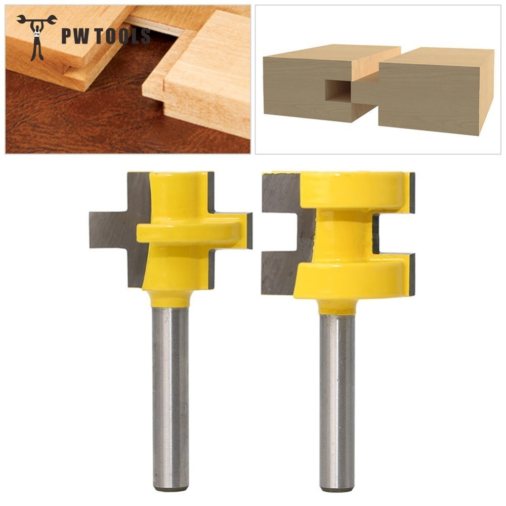 2pcs 1/4 Milling Cutter Kit Shank Tongue & Groove Router Bit Set 3 Teeth T-shape Wood Accessories Woodworking Tools 2pcs tongue and groove router bit 1 4 shank milling cutter set woodworking 3 4 stock wood tools drill set
