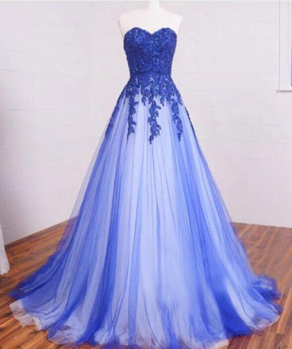 Royal Blue White Puffy A line Long Tulle Prom Dresses Gowns 2016 ...