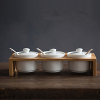 Japanese ceramic stack shallow seasoning cans creative kitchen condiments seasoning box into China sugar bowl three suit combina