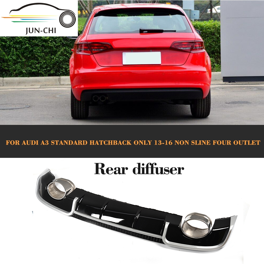 Black Rear Bumper lip diffuser With Exhaust tips muffer assembly for Audi A3 standard Hatchback 13-16 Non Sline Four outlet