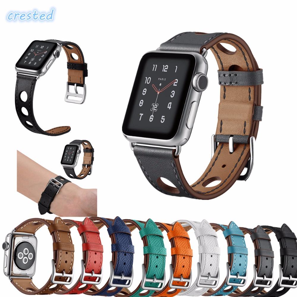 CRESTED New Genuine leather loop For Apple Watch band 42mm 38mm  Single Tour leather strap for Hermes iwatch band serise 1 2 3 все цены