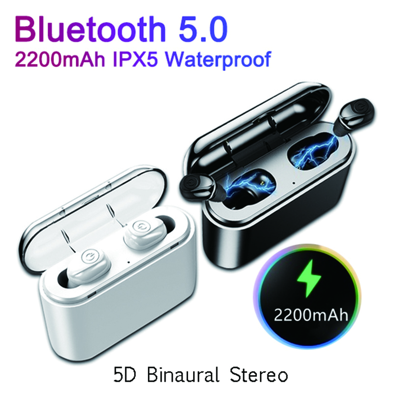 X8 Tws Wireless Bluetooth Earphones 5D Binaural Stereo Portable Headsets Earbuds V5.0 With 2200mAh Charging Box